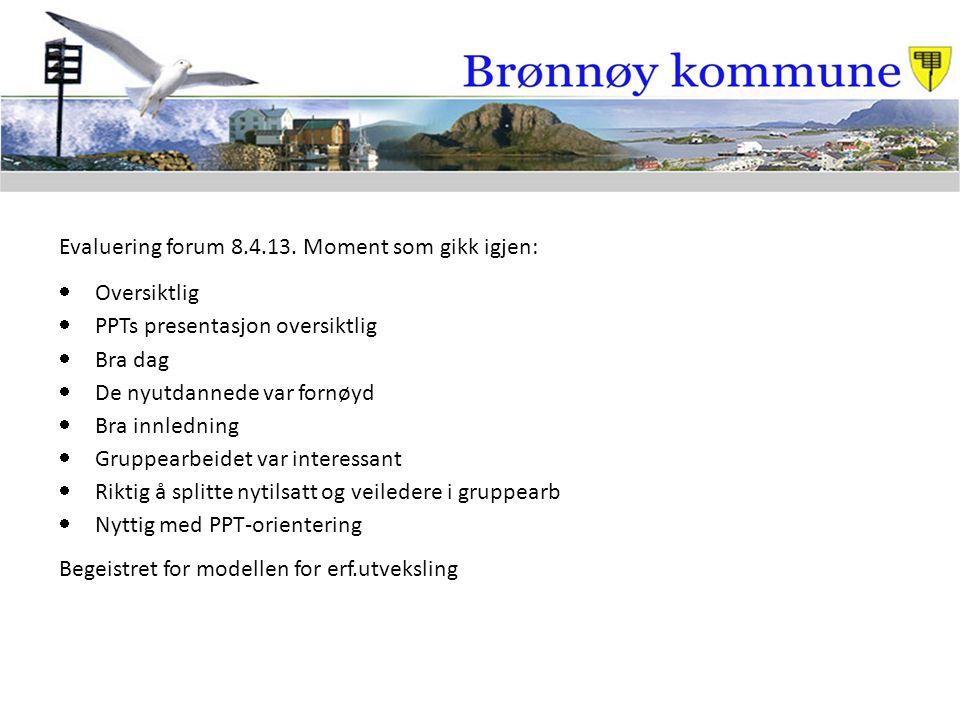 Evaluering forum 8.4.13. Moment som gikk igjen:
