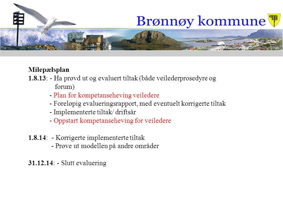 Milepælsplan 1.8.13: - Ha prøvd ut og evaluert tiltak (både veilederprosedyre og. forum) - Plan for kompetanseheving veiledere.
