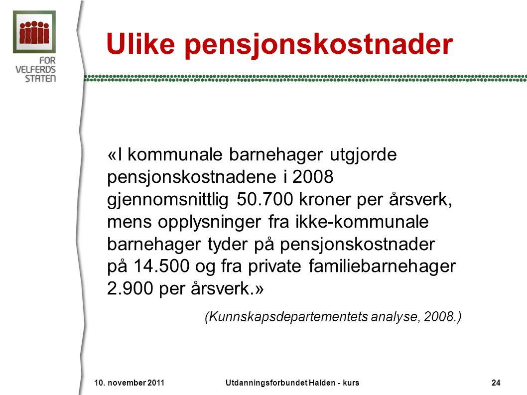Ulike pensjonskostnader