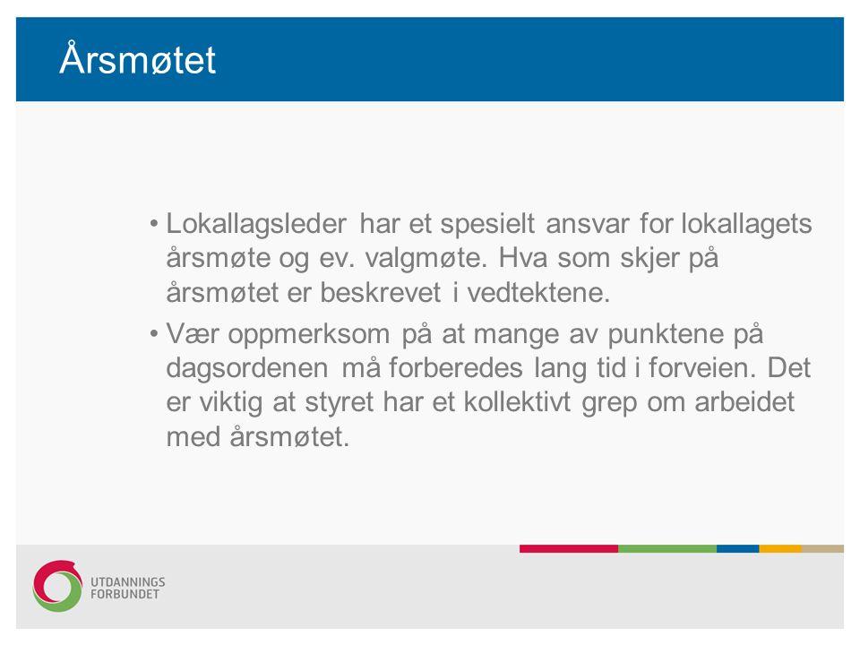 Årsmøtet Lokallagsleder har et spesielt ansvar for lokallagets årsmøte og ev. valgmøte. Hva som skjer på årsmøtet er beskrevet i vedtektene.