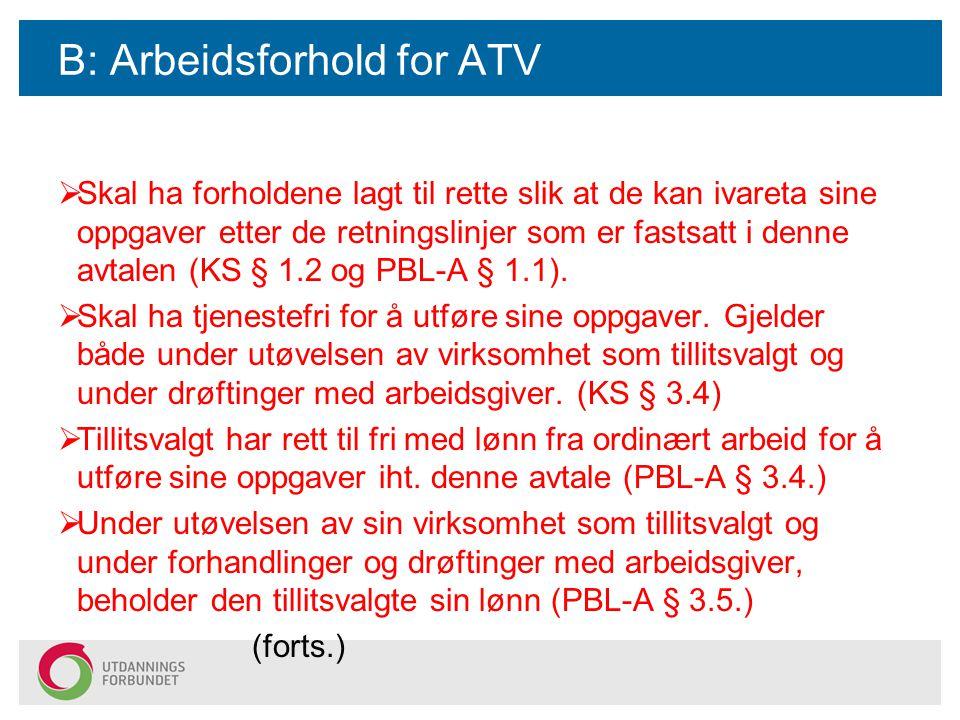 B: Arbeidsforhold for ATV