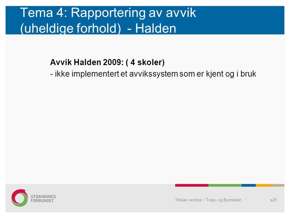 Tema 4: Rapportering av avvik (uheldige forhold) - Halden