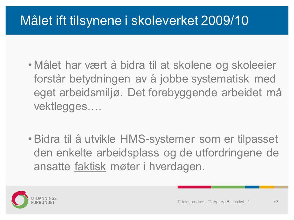 Målet ift tilsynene i skoleverket 2009/10