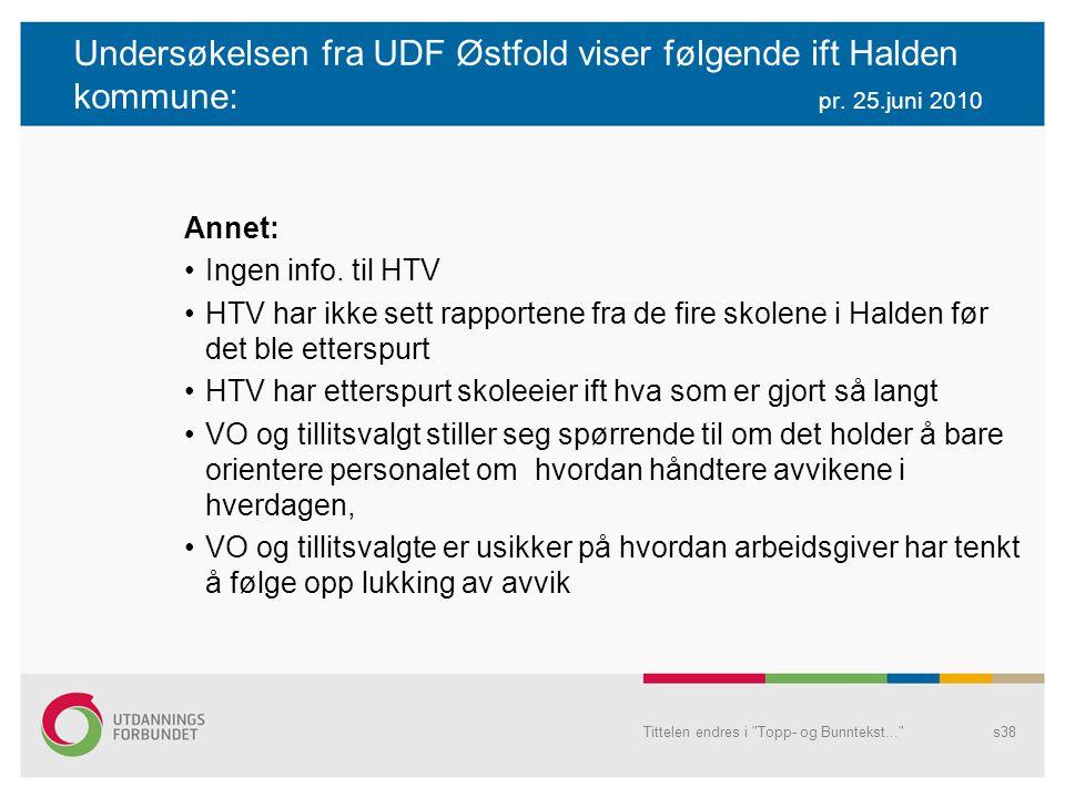 Undersøkelsen fra UDF Østfold viser følgende ift Halden kommune:. pr