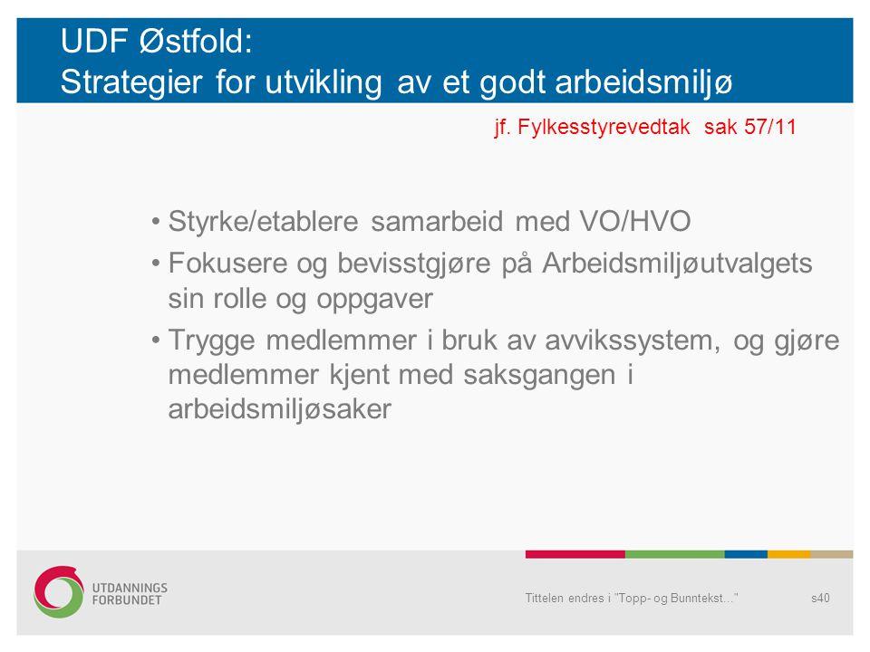 UDF Østfold: Strategier for utvikling av et godt arbeidsmiljø. jf