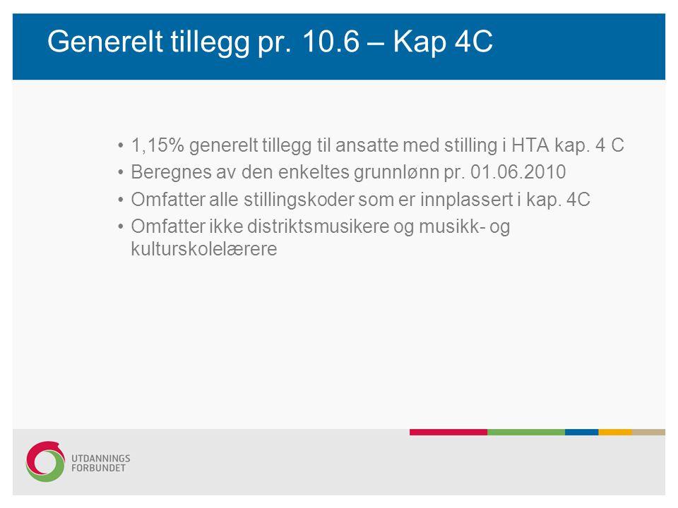 Generelt tillegg pr. 10.6 – Kap 4C