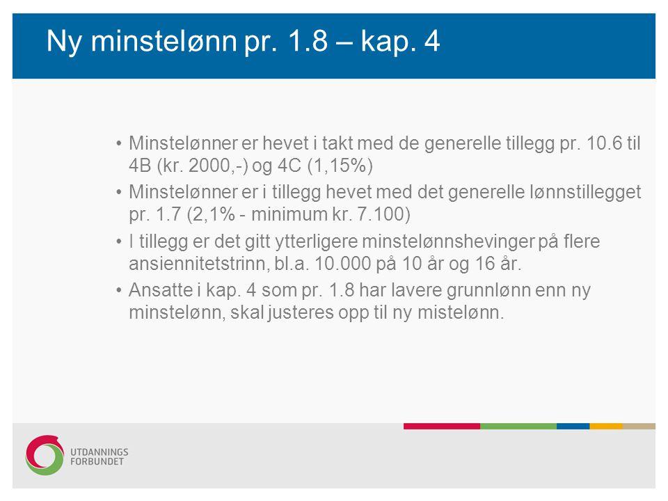 Ny minstelønn pr. 1.8 – kap. 4 Minstelønner er hevet i takt med de generelle tillegg pr. 10.6 til 4B (kr. 2000,-) og 4C (1,15%)