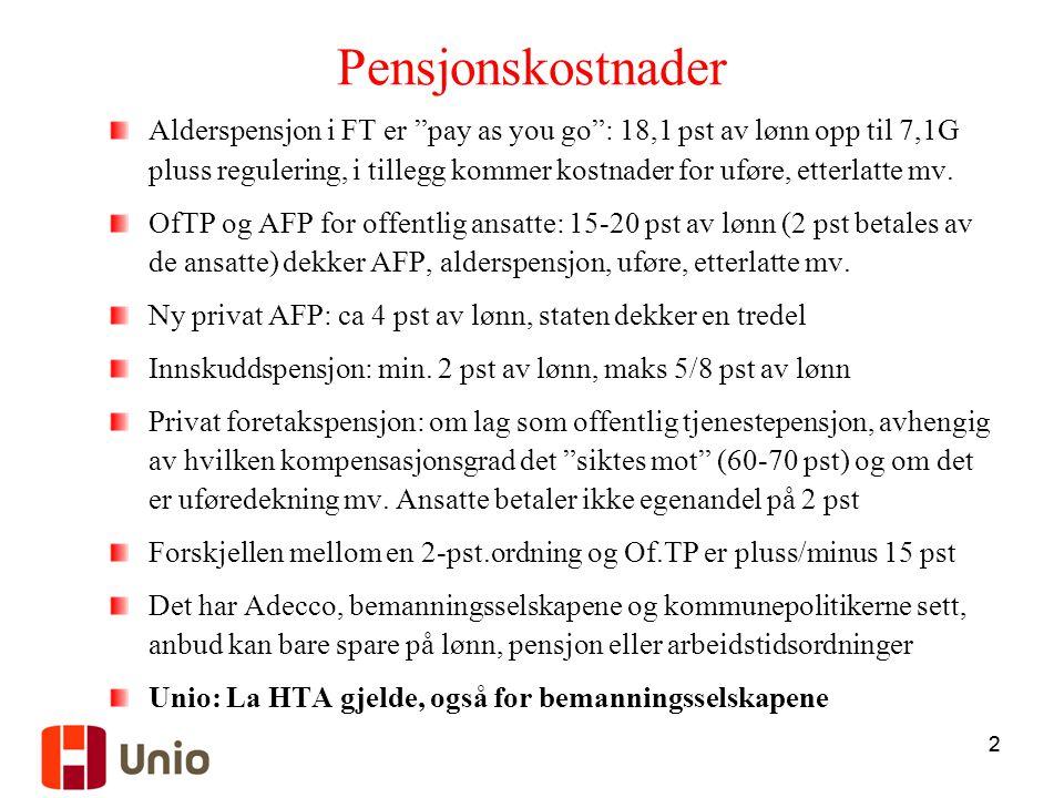 Pensjonskostnader