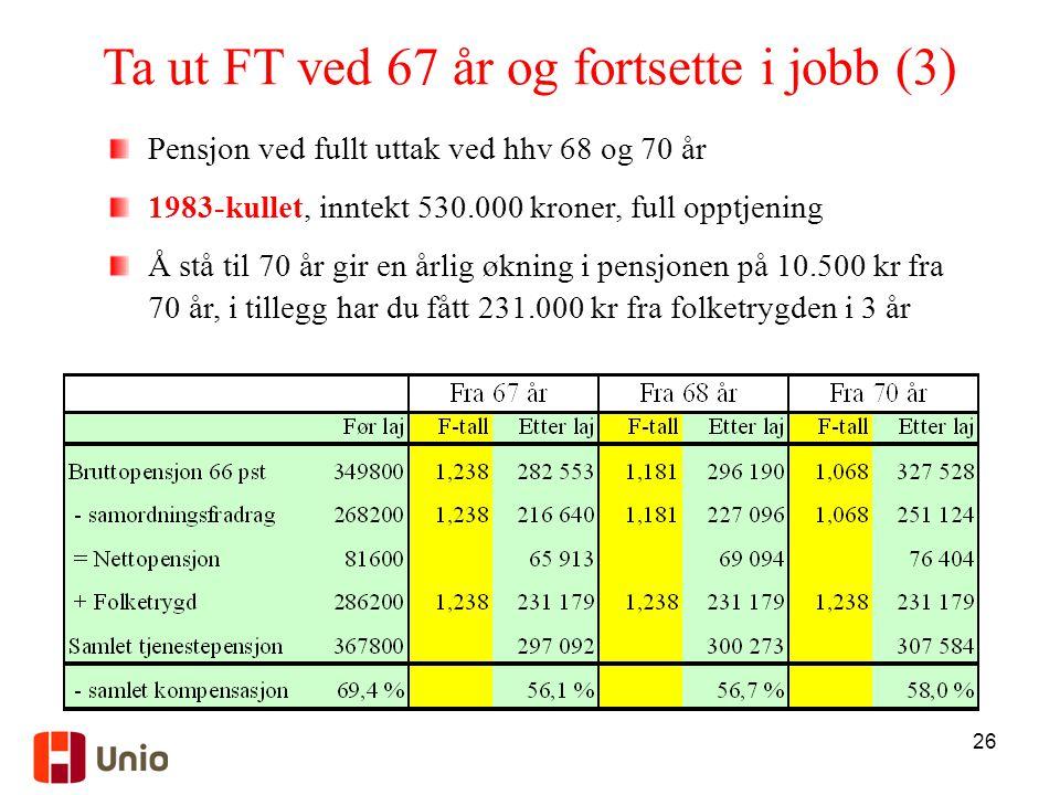 Ta ut FT ved 67 år og fortsette i jobb (3)