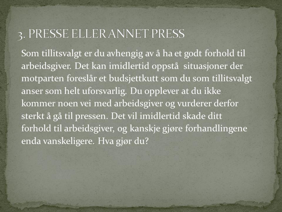 3. PRESSE ELLER ANNET PRESS
