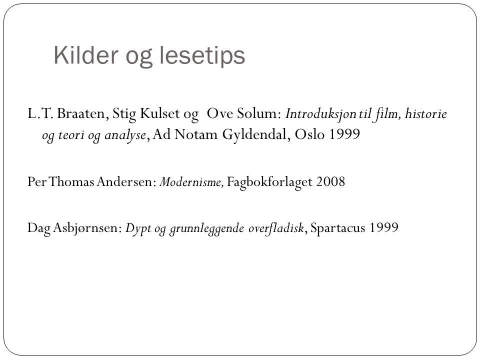 Kilder og lesetips L.T. Braaten, Stig Kulset og Ove Solum: Introduksjon til film, historie og teori og analyse, Ad Notam Gyldendal, Oslo 1999.