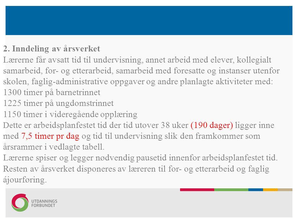 2. Inndeling av årsverket