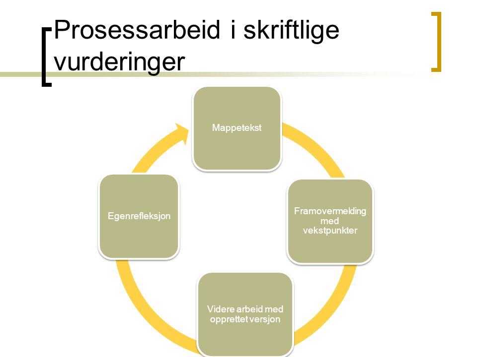 Prosessarbeid i skriftlige vurderinger