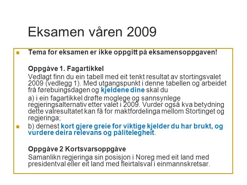 Eksamen våren 2009 Tema for eksamen er ikke oppgitt på eksamensoppgaven! Oppgåve 1. Fagartikkel.