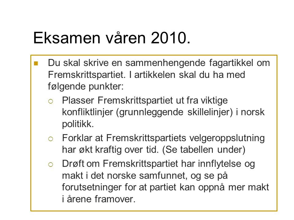 Eksamen våren 2010. Du skal skrive en sammenhengende fagartikkel om Fremskrittspartiet. I artikkelen skal du ha med følgende punkter: