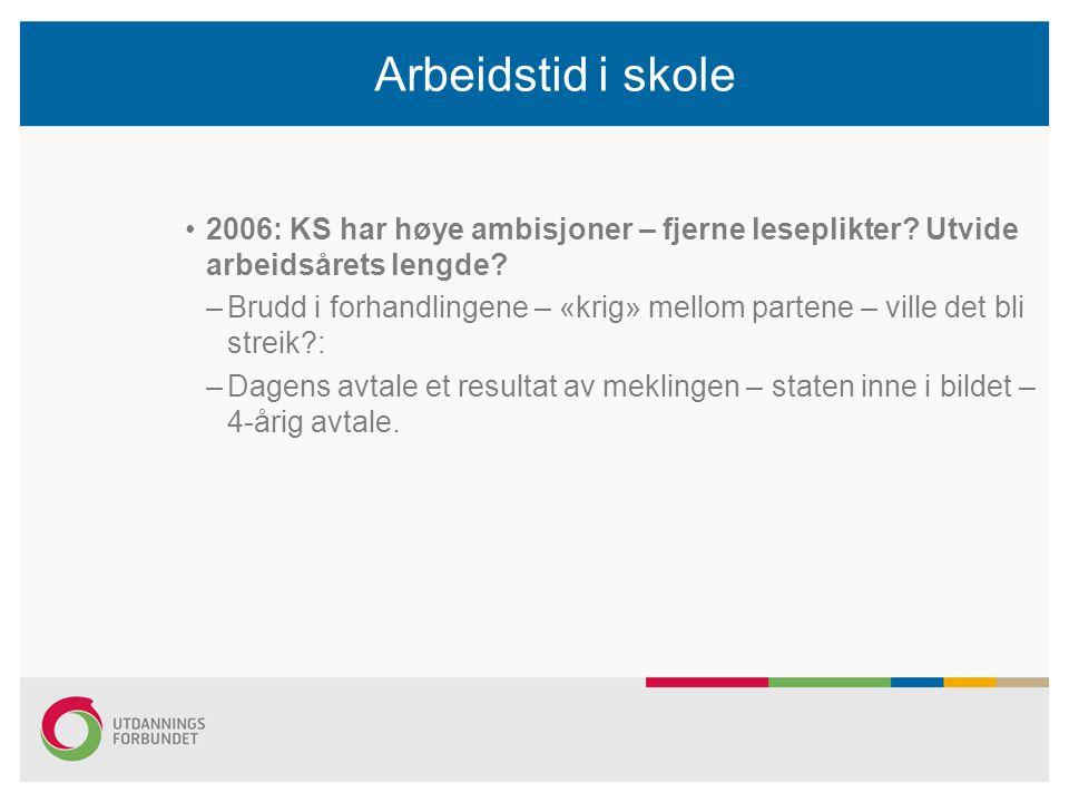 Arbeidstid i skole 2006: KS har høye ambisjoner – fjerne leseplikter Utvide arbeidsårets lengde
