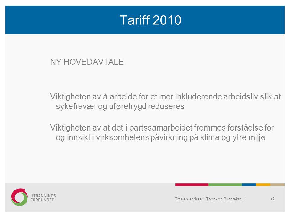 Tariff 2010 NY HOVEDAVTALE. Viktigheten av å arbeide for et mer inkluderende arbeidsliv slik at sykefravær og uføretrygd reduseres.