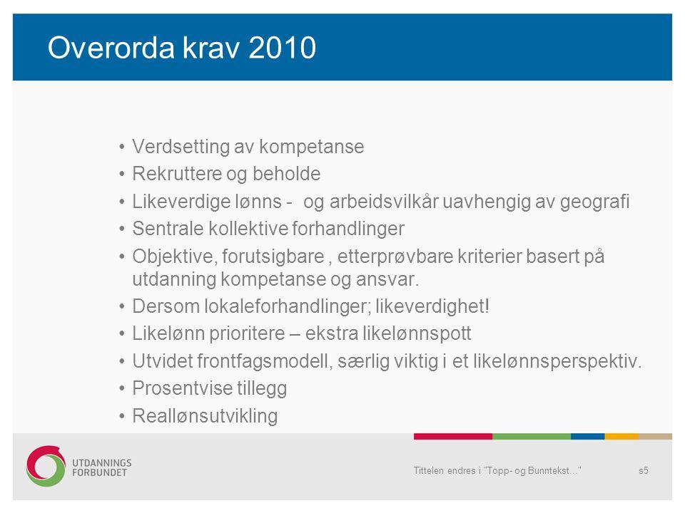 Overorda krav 2010 Verdsetting av kompetanse Rekruttere og beholde