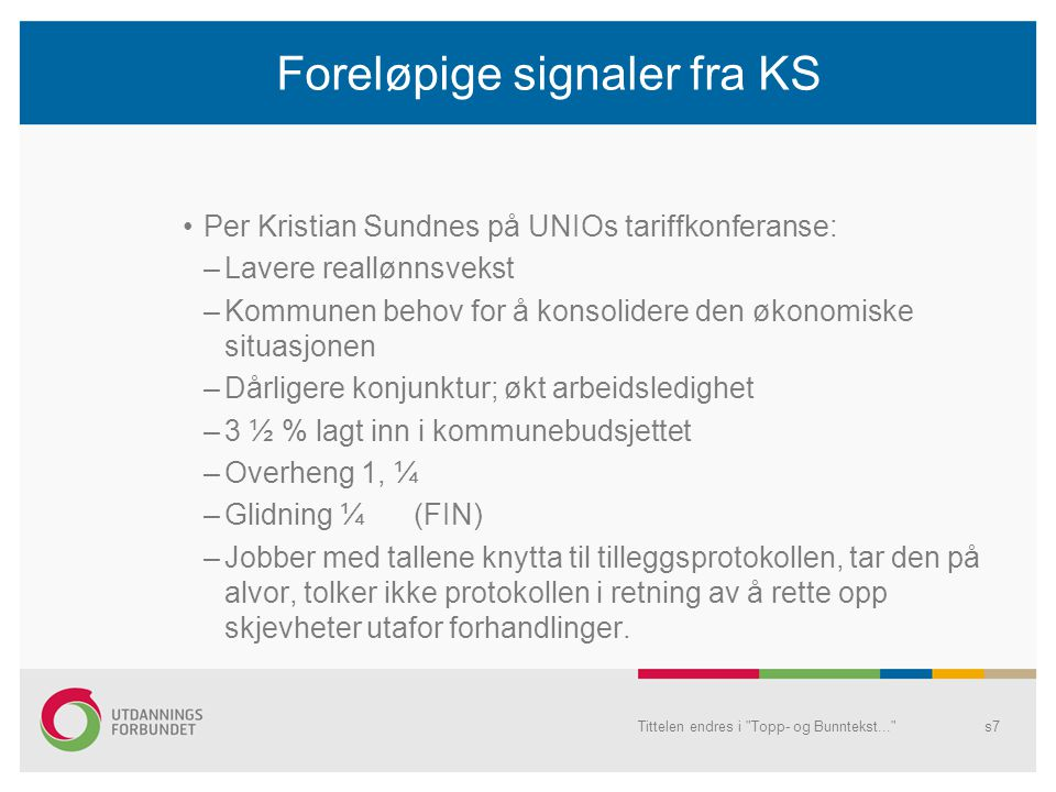 Foreløpige signaler fra KS