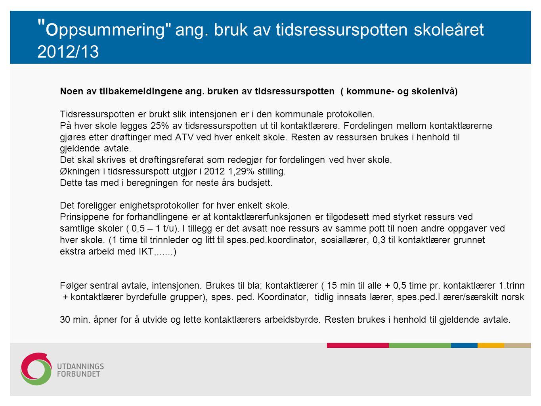 oppsummering ang. bruk av tidsressurspotten skoleåret 2012/13