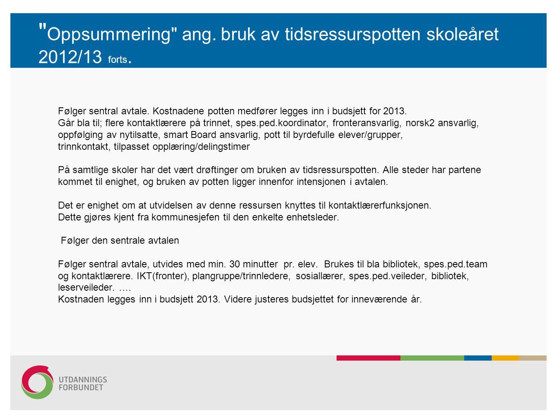 Oppsummering ang. bruk av tidsressurspotten skoleåret 2012/13 forts.