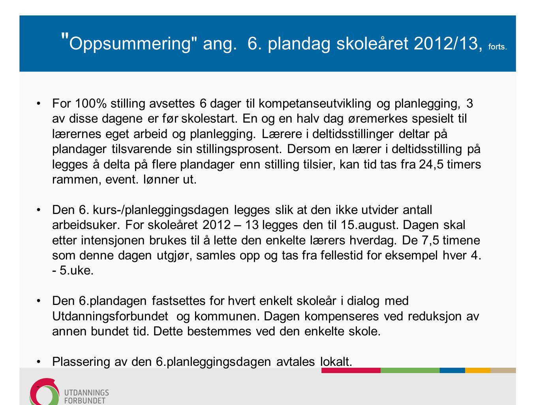 Oppsummering ang. 6. plandag skoleåret 2012/13, forts.