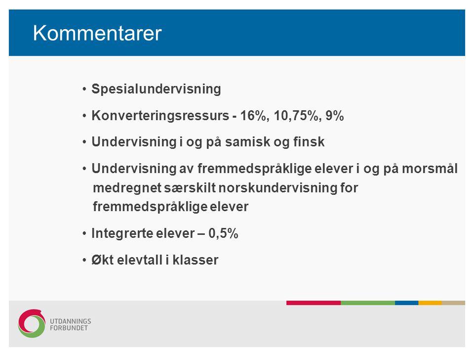 Kommentarer Spesialundervisning Konverteringsressurs - 16%, 10,75%, 9%