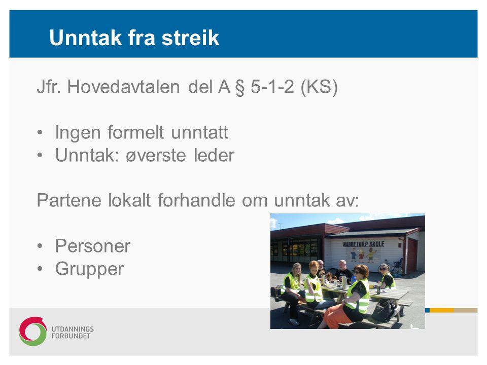 Unntak fra streik Jfr. Hovedavtalen del A § 5-1-2 (KS)
