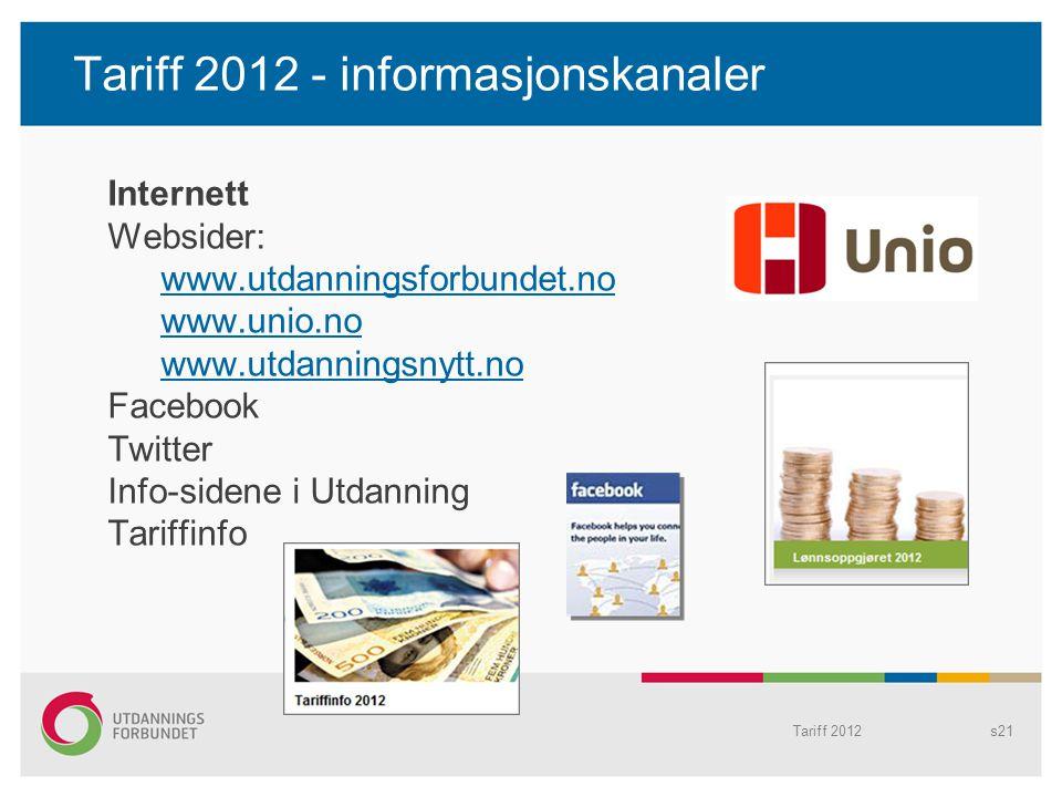 Tariff 2012 - informasjonskanaler
