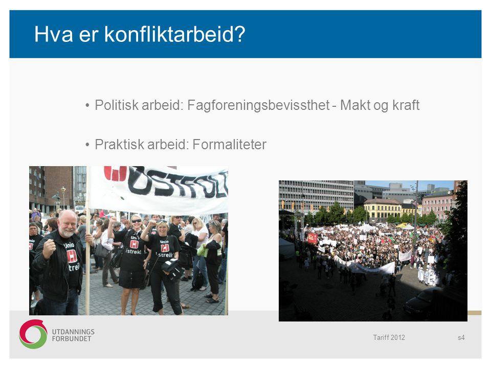 Hva er konfliktarbeid Politisk arbeid: Fagforeningsbevissthet - Makt og kraft. Praktisk arbeid: Formaliteter.