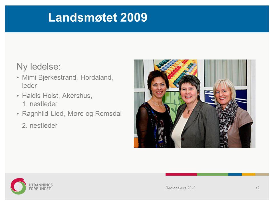 Landsmøtet 2009 Ny ledelse: Mimi Bjerkestrand, Hordaland, leder