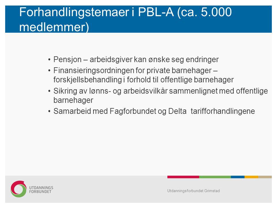 Forhandlingstemaer i PBL-A (ca. 5.000 medlemmer)