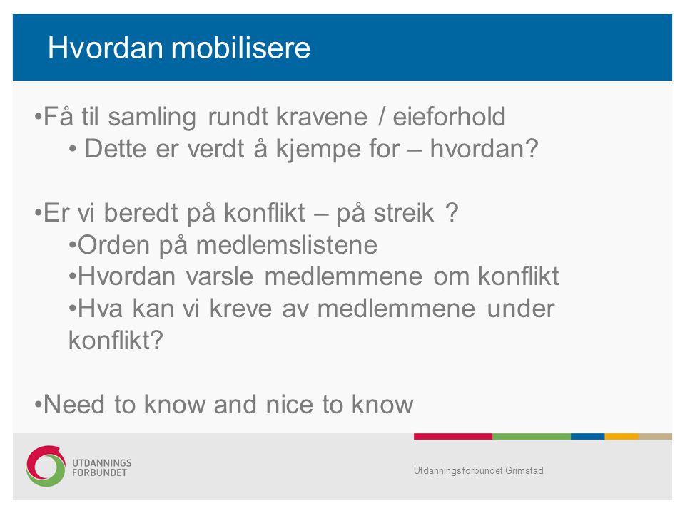 Hvordan mobilisere Få til samling rundt kravene / eieforhold