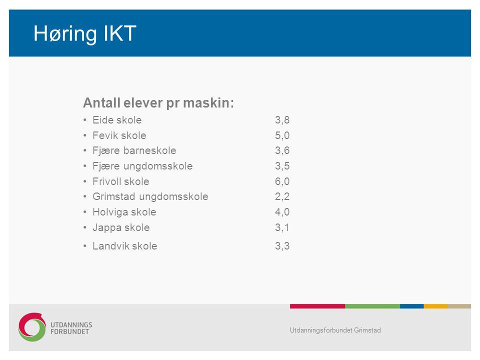 Høring IKT Antall elever pr maskin: Eide skole 3,8 Fevik skole 5,0