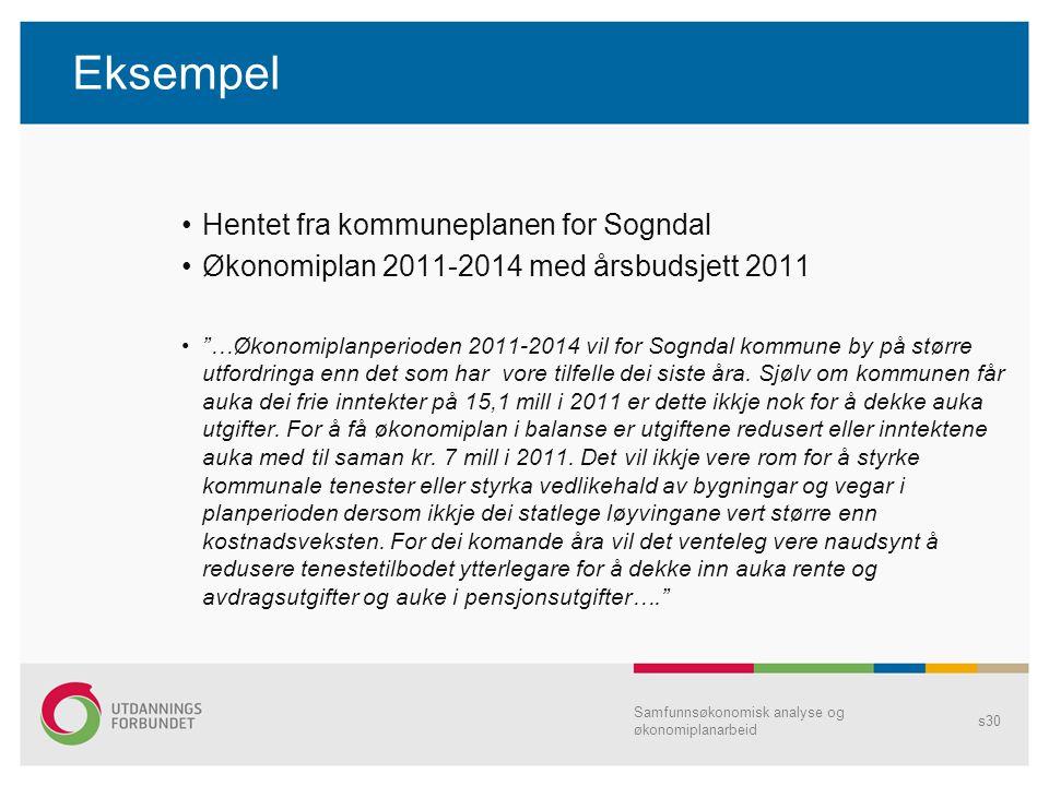 Eksempel Hentet fra kommuneplanen for Sogndal