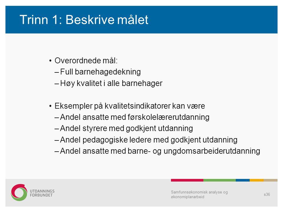 Trinn 1: Beskrive målet Overordnede mål: Full barnehagedekning