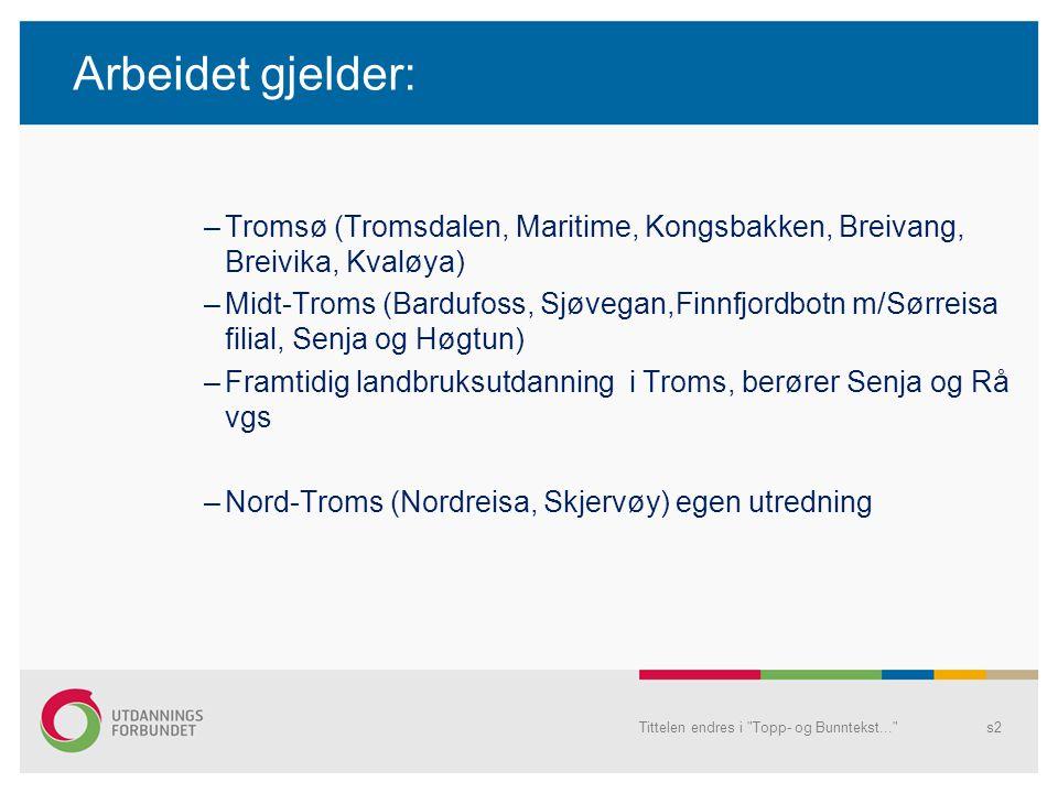 Arbeidet gjelder: Tromsø (Tromsdalen, Maritime, Kongsbakken, Breivang, Breivika, Kvaløya)