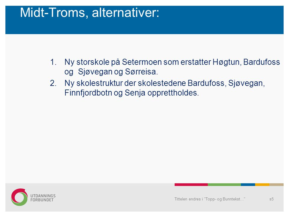 Midt-Troms, alternativer: