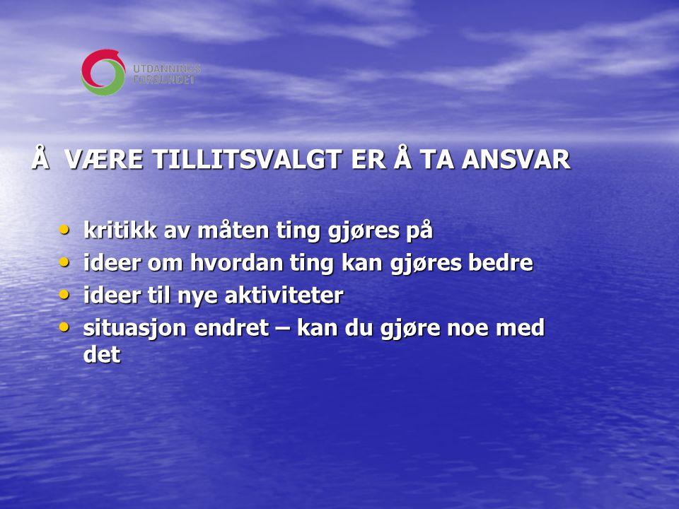 Å VÆRE TILLITSVALGT ER Å TA ANSVAR