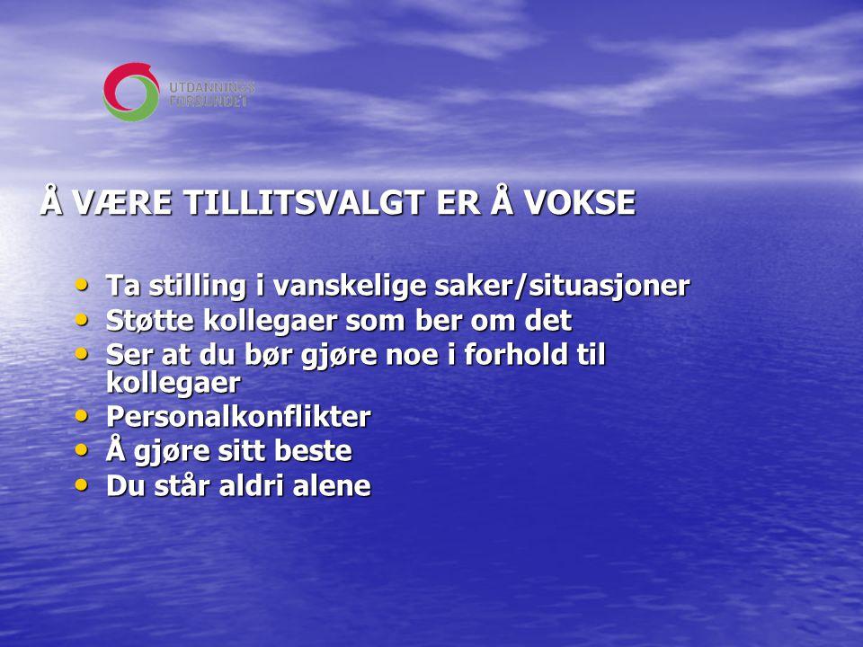 Å VÆRE TILLITSVALGT ER Å VOKSE