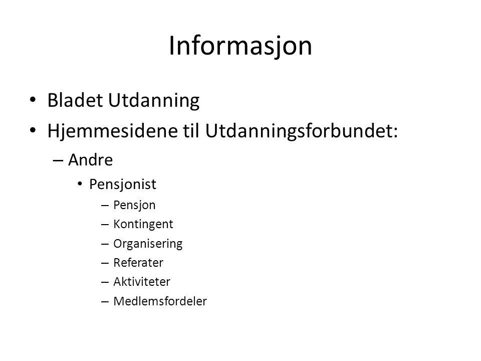 Informasjon Bladet Utdanning Hjemmesidene til Utdanningsforbundet: