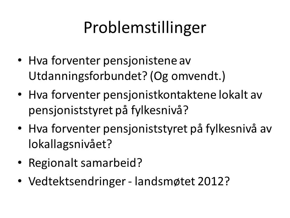 Problemstillinger Hva forventer pensjonistene av Utdanningsforbundet (Og omvendt.)