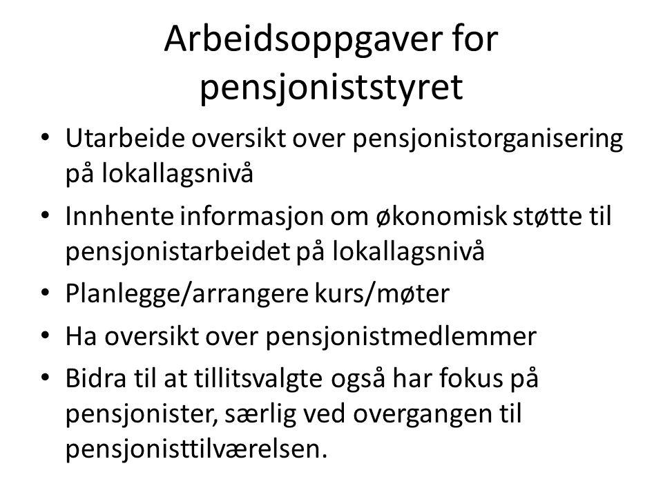 Arbeidsoppgaver for pensjoniststyret