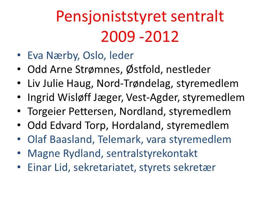 Pensjoniststyret sentralt 2009 -2012