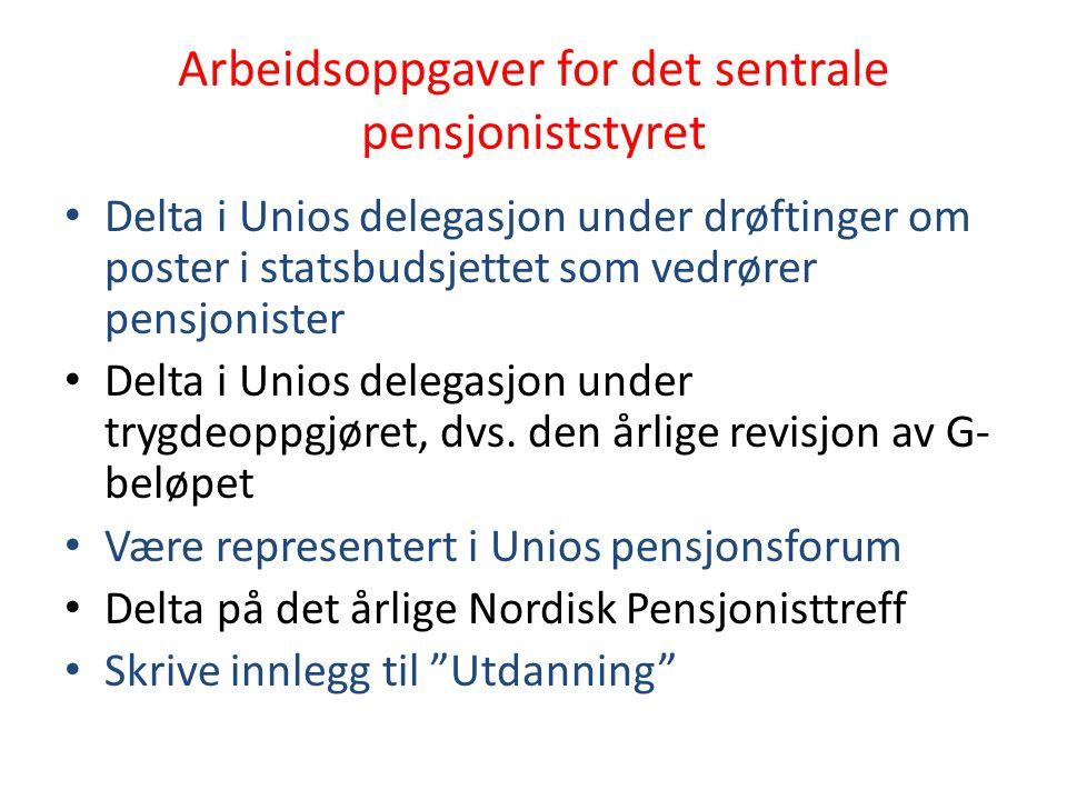 Arbeidsoppgaver for det sentrale pensjoniststyret