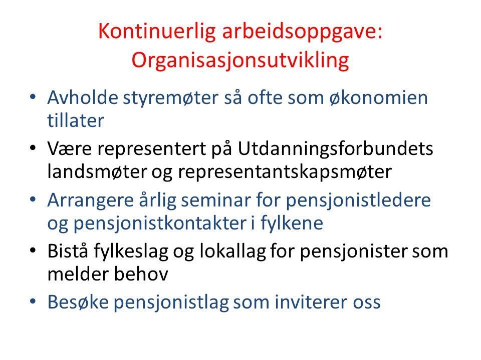 Kontinuerlig arbeidsoppgave: Organisasjonsutvikling