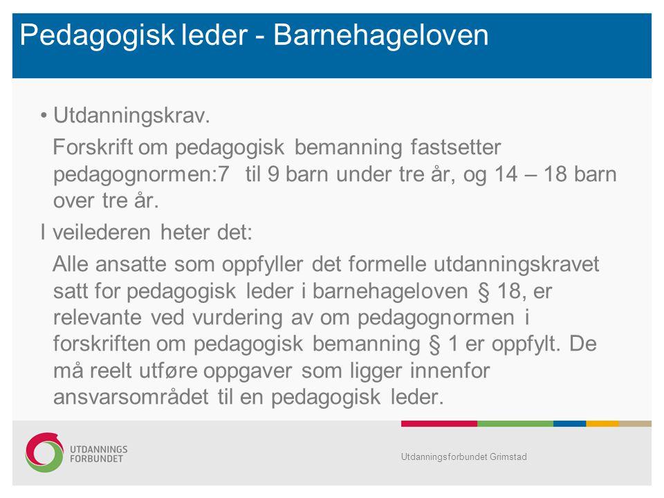 Pedagogisk leder - Barnehageloven