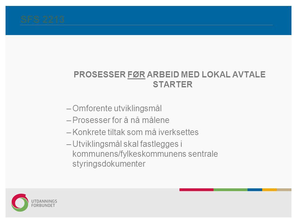 PROSESSER FØR ARBEID MED LOKAL AVTALE STARTER