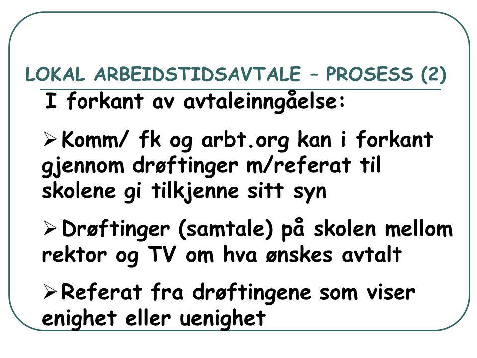 LOKAL ARBEIDSTIDSAVTALE – PROSESS (2)