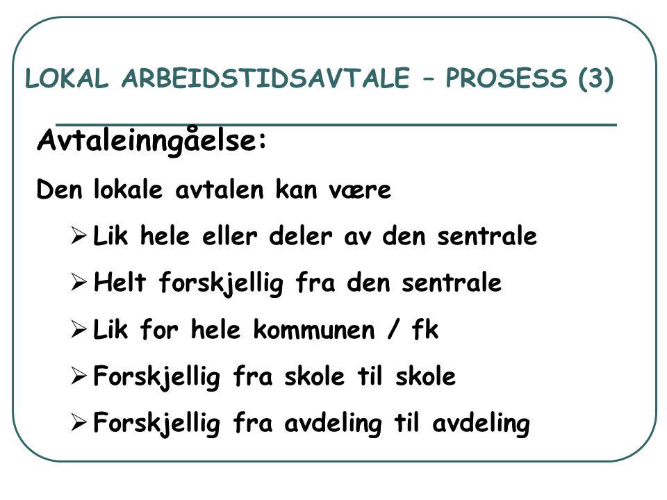 LOKAL ARBEIDSTIDSAVTALE – PROSESS (3)